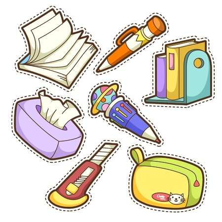 pencil case: school set. set of different school items, vector illustration. Illustration