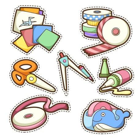 pegamento: estableci� la escuela. conjunto de diferentes art�culos escolares, ilustraci�n vectorial. Vectores