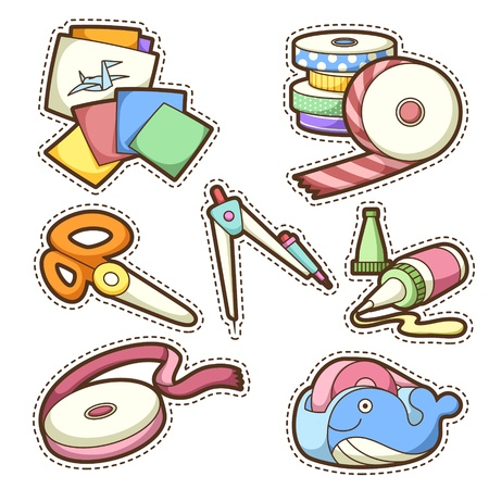 scissors icon: school set. set of different school items, vector illustration. Illustration
