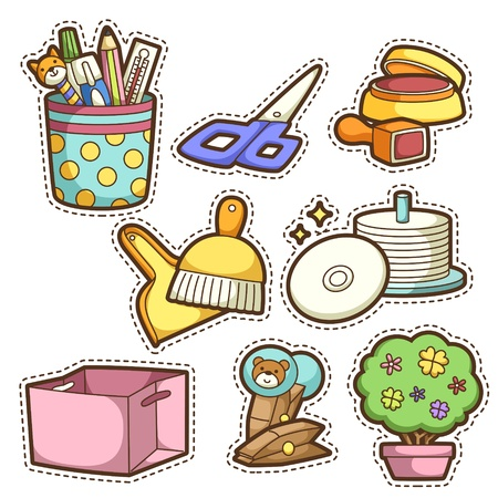 pencil plant: school set. set of different school items, vector illustration. Illustration