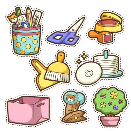 book case: school set. set of different school items, vector illustration. Illustration