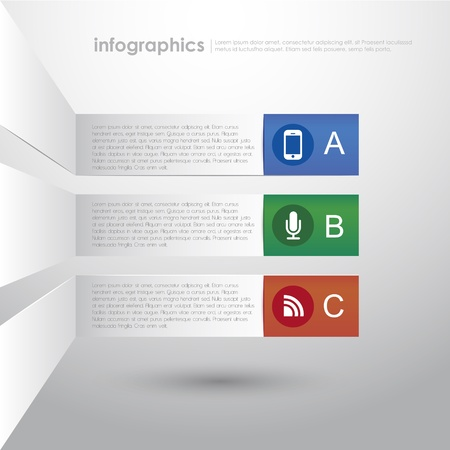 flyer layout: vector abstract 3d paper infographics. can be used for workflow layout, diagram, number options, web design.  Illustration
