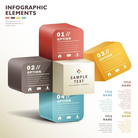 抽象的な 3 d ベクトル紙のインフォ グラフィック。ワークフローのレイアウト、図、番号のオプション、web デザインに使用できます。  イラスト・ベクター素材