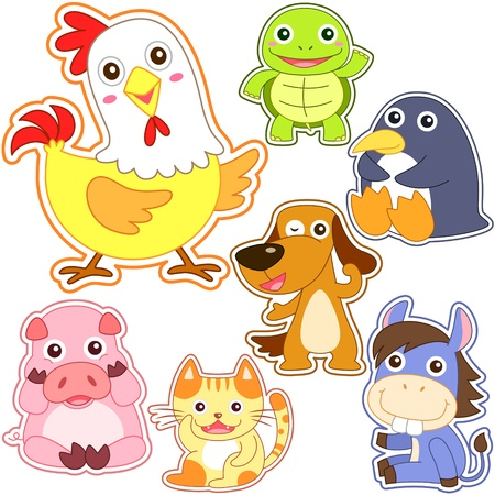cute cartoon animal set, vector illustration with white background. Vector