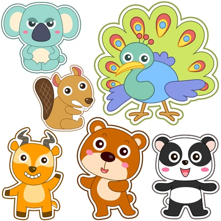 cute cartoon animal set Vector