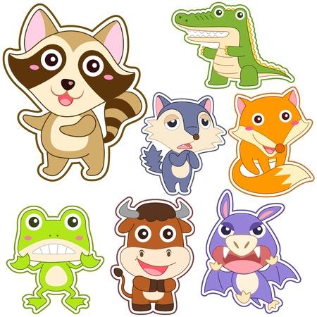 악어: 귀여운 만화 동물 세트