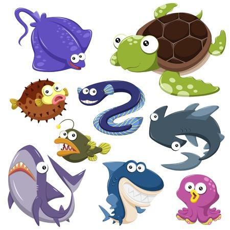 aquarium: phim hoạt hình bộ sưu tập động vật biển với nền màu trắng