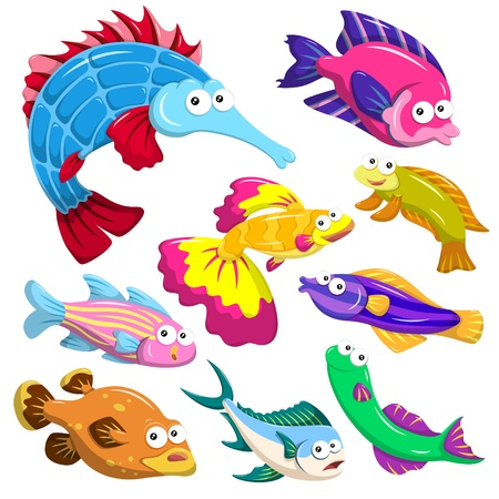 guppy: cartoon sea animals collection with white background Illustration