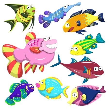 exotic fish: cartoon sea animals collection with white background Illustration