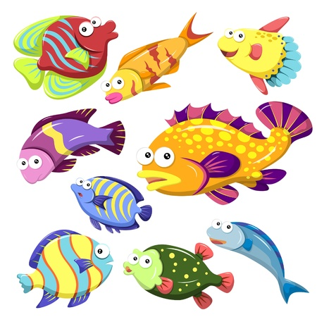 cartoon sea animals collection with white background Stock Vector - 22126053