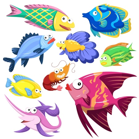 reef fish: cartoon sea animals collection with white background Illustration