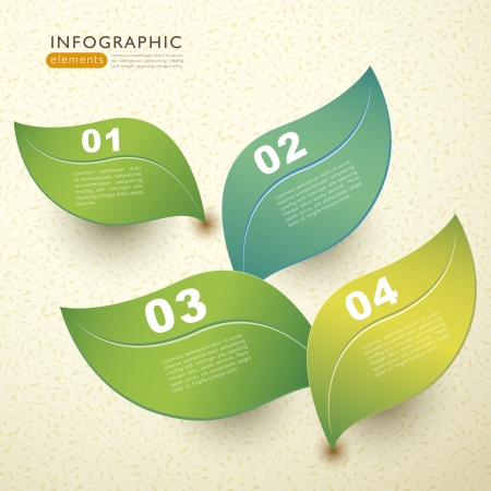 environmentally: vector abstract 3d paper leaf infographic elements