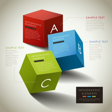 vector abstract 3d box infographic elements 向量圖像