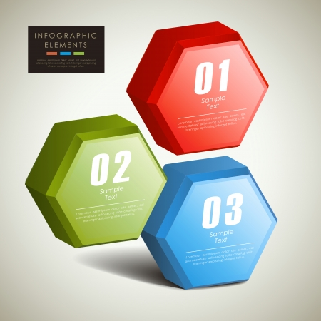 abstract 3d hexagonal columns infographic elements Stock Vector - 22199824