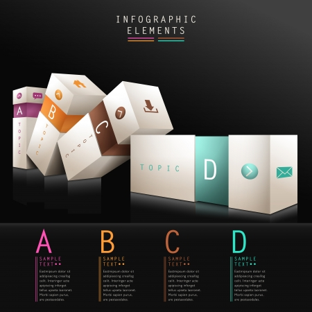 3d box infographic elements