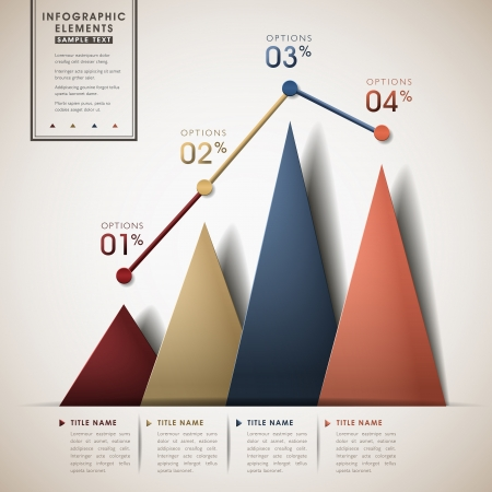 abstract line and triangle chart infographic elements Vector