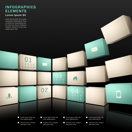 web navigation: vector abstract 3d wall infographic elements