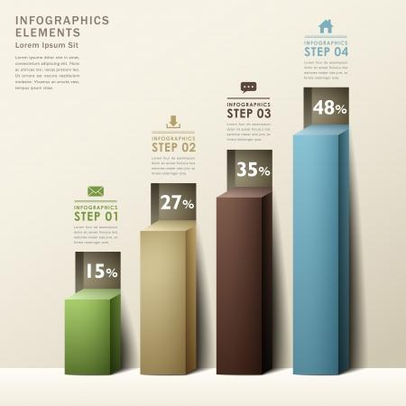 navigation bar: modern abstract 3d chart infographic elements