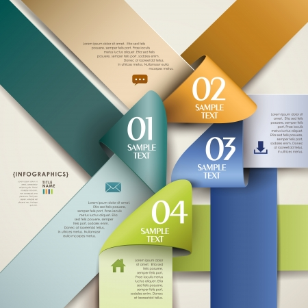 abstract 3d origam ipaper infographic elements Vector