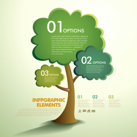 leaflet: vector abstract tree infographic elements Illustration