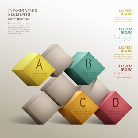 vector abstract 3d cube infographic elements 일러스트