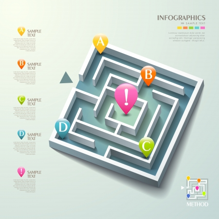 vector abstract 3d maze infographic elements Vector
