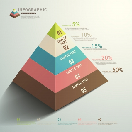 vector abstract 3d Pyramid type infographic elements Illustration