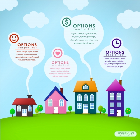 real estate background: modern house vector abstract infographic elements design