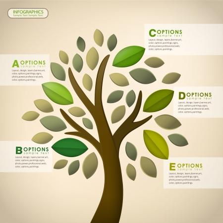 moderno vector árbol abstracto infografía elementos de diseño