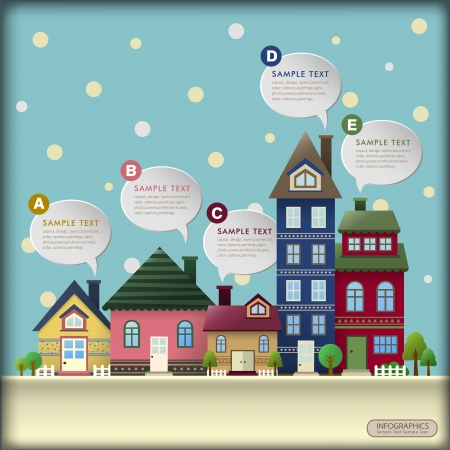 winter vector illustration house abstract infographic elements Vector