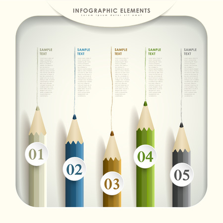 vector abstract 3d colored pencil infographic elements