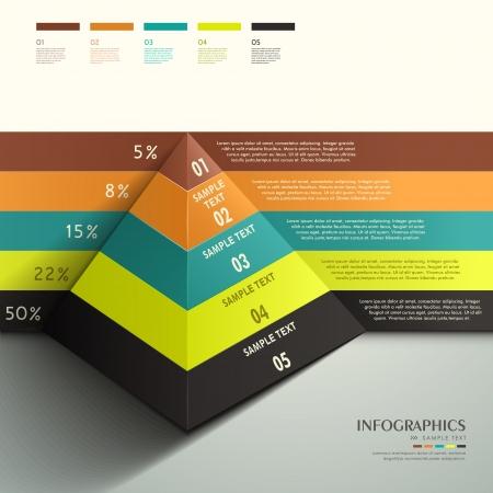 moderno vetor 3d abstrato Pyramid elementos infogr