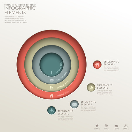 realistic vector abstract 3d Concentric infographic elements Vector