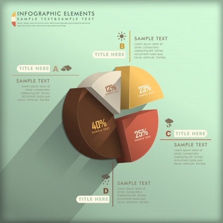 realistic vector abstract 3d pie chart infographic elements Vector