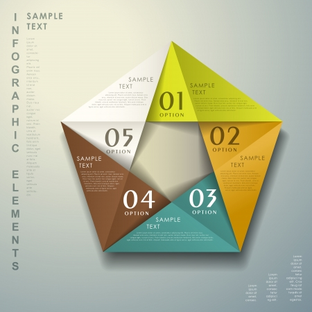 pentagon: realistic vector abstract 3d paper infographic elements