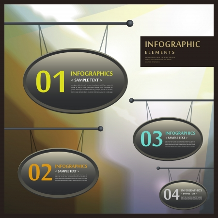 signboard form: realistic vector abstract 3d signboard infographic elements Illustration