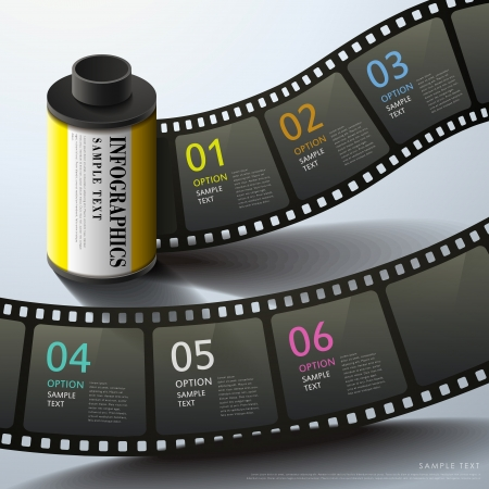 3d film: realistic vector abstract 3d film infographic elements