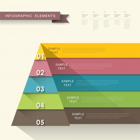 los elementos infográficos vectorial abstracto diseño plano de la pirámide Ilustración de vector