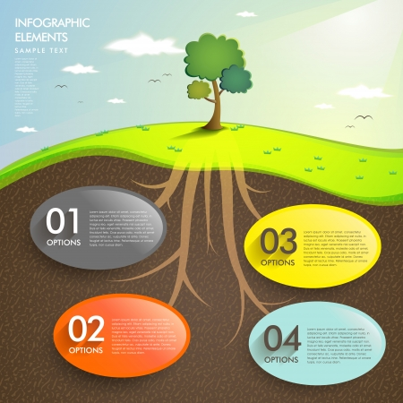 plants and trees: vector abstract landscape infographic elements