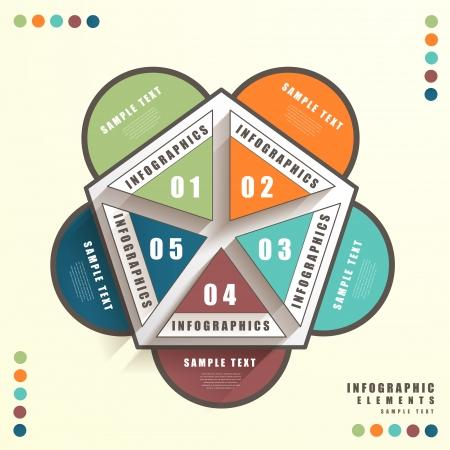 pentagon: vector abstract 3d pentagon infographic elements