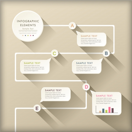 抽象的なフラット デザイン フロー チャート インフォ グラフィック要素をベクトルします。  イラスト・ベクター素材