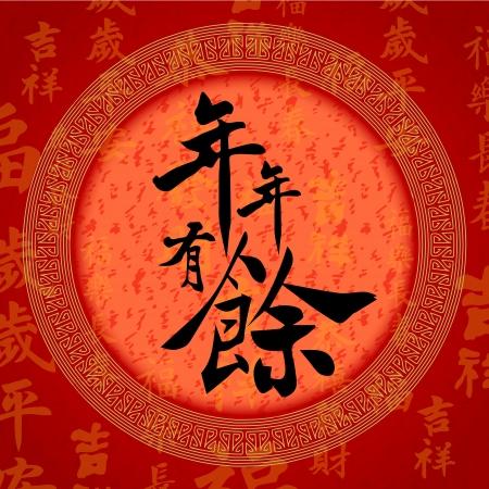 """Kalligraphie chinesische Schriftzeichen für """"glücklich und reich Zukunft"""""""