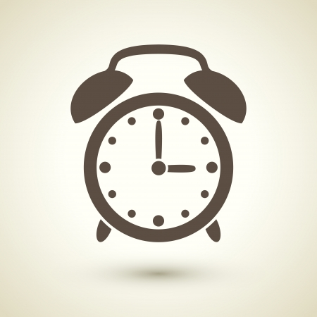 retro style alarm clock icon isolated on brown background Vector