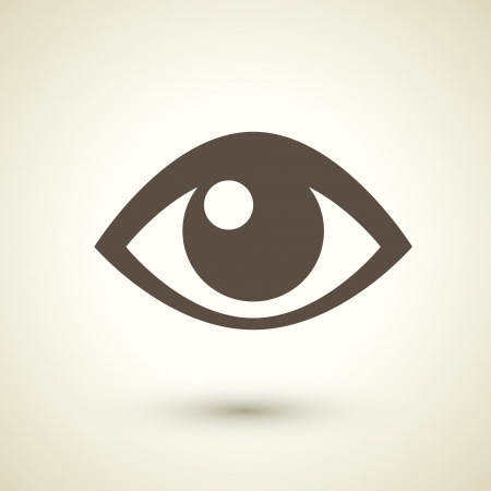 retro style eye icon isolated on brown background