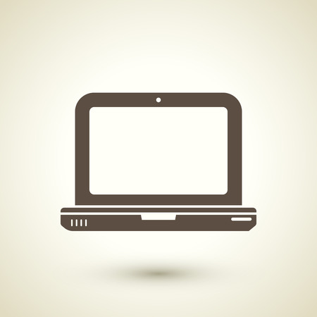 front office: retro style laptop icon isolated on brown background
