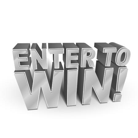 3d ilustración de las palabras Participe para Ganar aislado en blanco