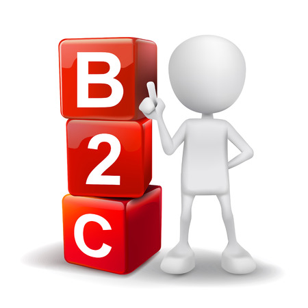 b2b: 3d illustration of person with word B2C cubes
