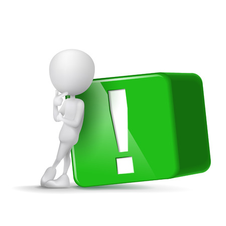 3d human and green exclamation mark cube isolated white background Vector