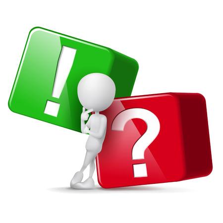 3 d の男が大きなキューブの質問および感嘆符の前に考える  イラスト・ベクター素材