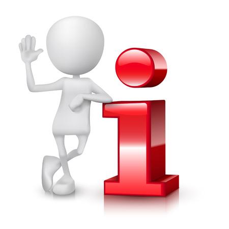3d kleine persoon die dicht bij een informatie-icoon 3d beeld Geïsoleerde witte achtergrond Stock Illustratie